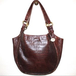 Brahmin Brown Croc Embossed Shoulder Bag